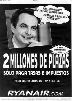 Ryanair Zapatero advert