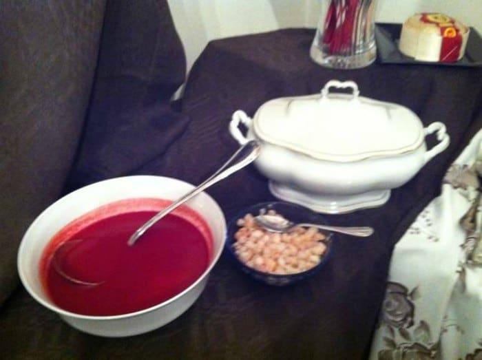 Sopa fría de Remolacha y Marisco