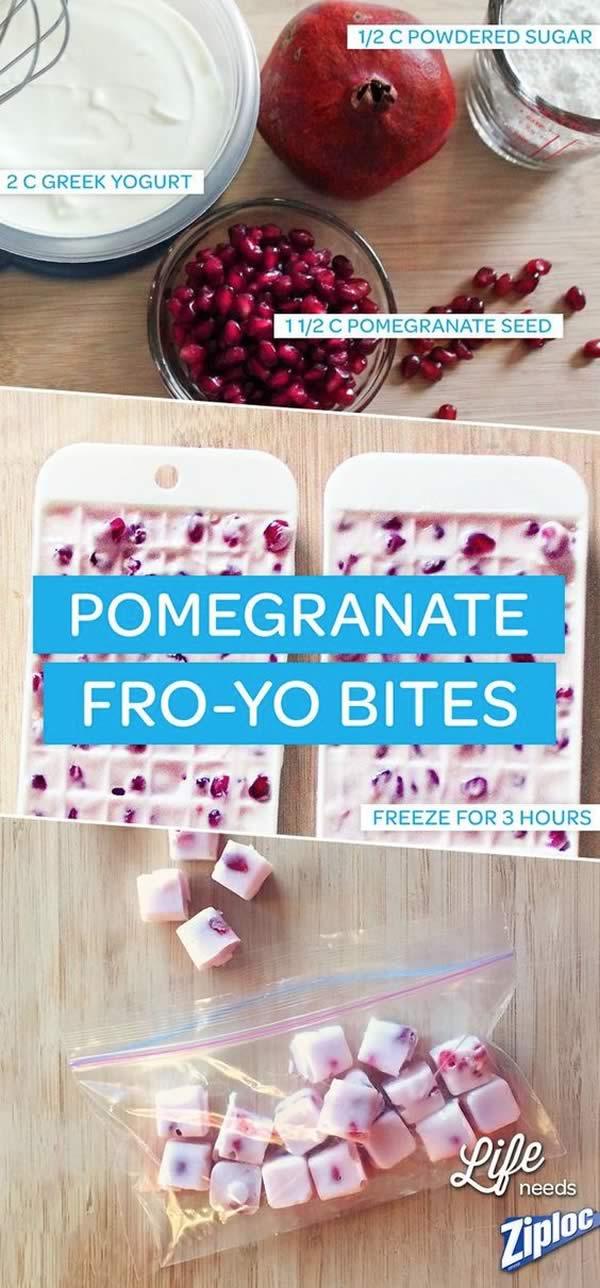 Usos bandeja de hielos: cubos yogurt granada