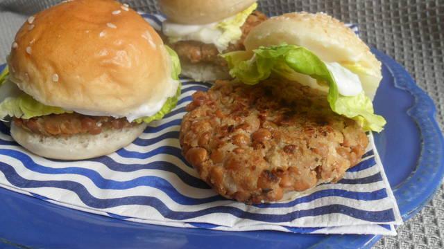 Hamburguesa vegana de lentejas