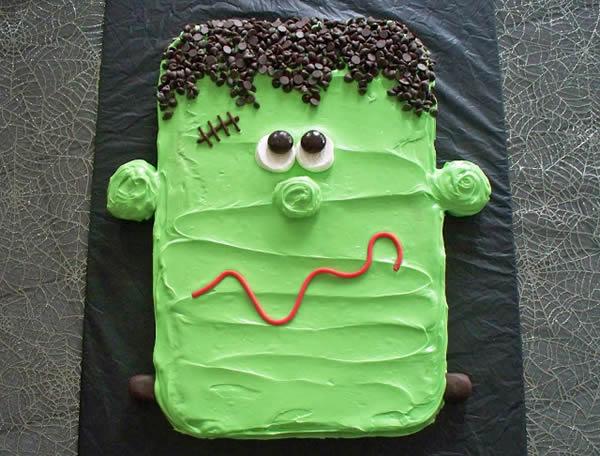 Tarta de Frankenstein fácil para Halloween