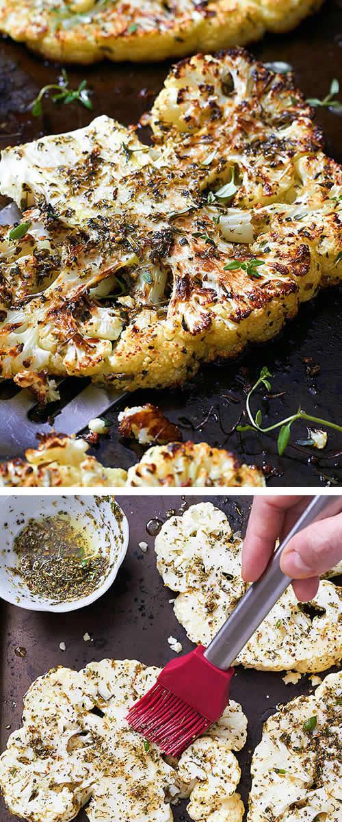 Recetas de verduras Navidad: coliflor al horno