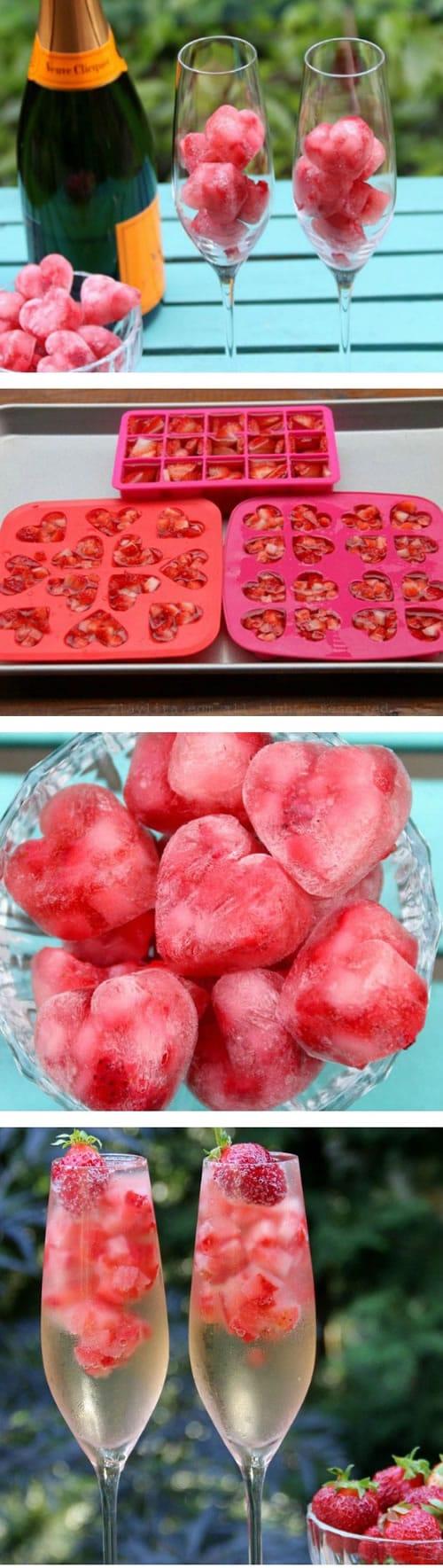 Comida con forma de corazón: cubitos de fruta