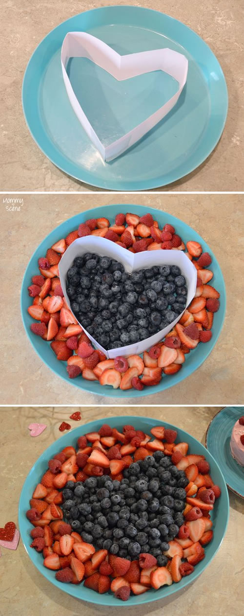 Comidas con forma de corazón: frutas variadas