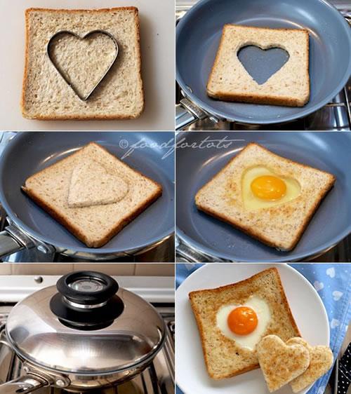 Comida con forma de corazón: tostadas
