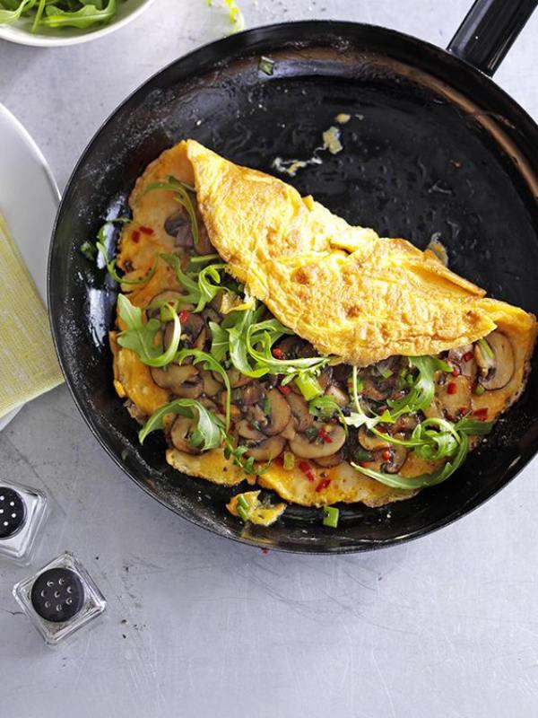 Tortilla rellena con champiñones
