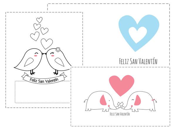 Tarjetas románticas de San Valentín para imprimir