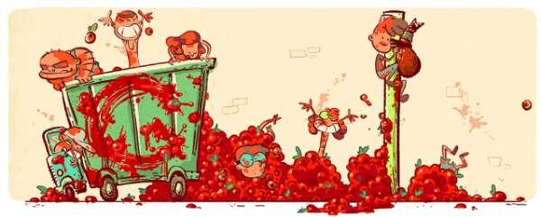 Doodle de Google dedicado a la Tomatina