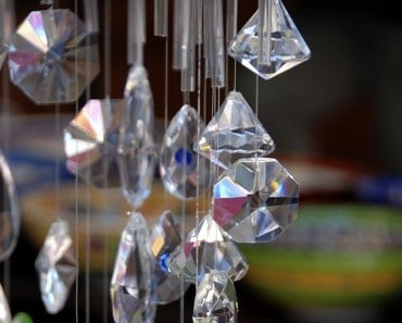 Several crystals hanging in front of s shop in Kas, Tutrkey