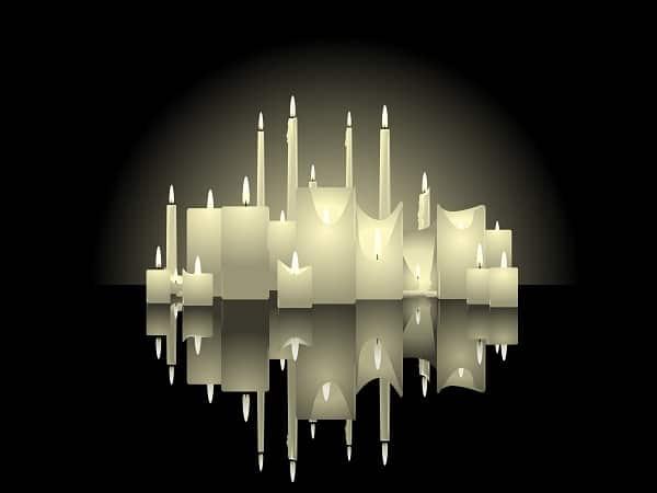 altar de velas, velas blancas