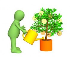 3d gardener, watering a tree with growing gold coins. Objects over white