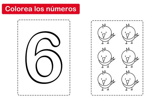 Colorear el número 6 - Manualidades