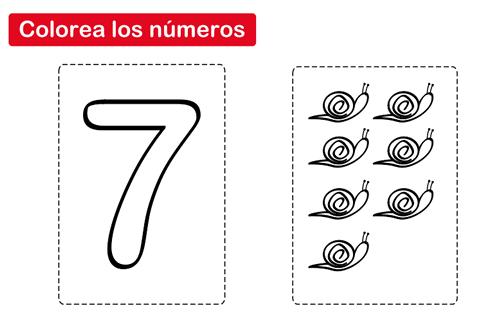 Dibujos Del Numero 7 Para Colorear: Colorear El Número 7