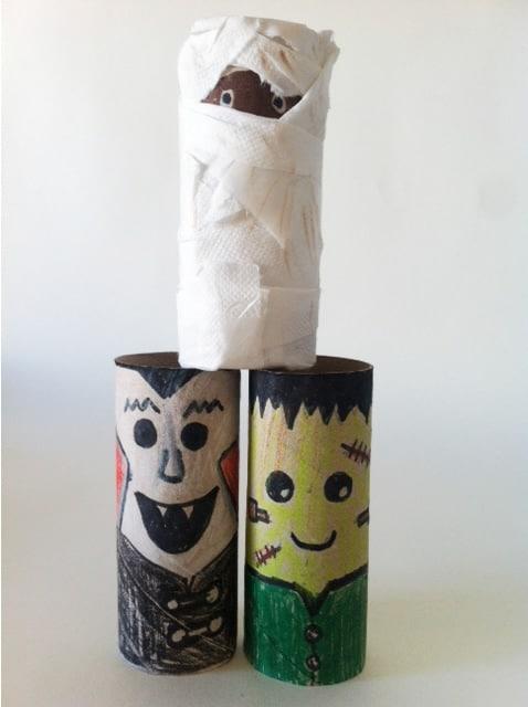 Halloween monstruos con rollos de papel manualidades - Decoracion halloween casera ...