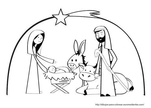 Manualidad infantil Beln de Navidad para colorear y recortar