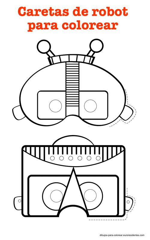 Divertidas Caretas Robot Para Imprimir Manualidades