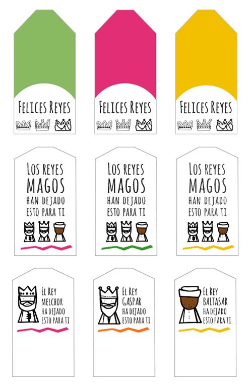 Imprimible Navidad. Tarjetas imprimibles para los regalos de Reyes