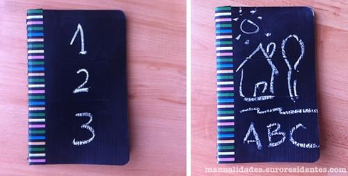 cuaderno personalizado con pintura de pizarra