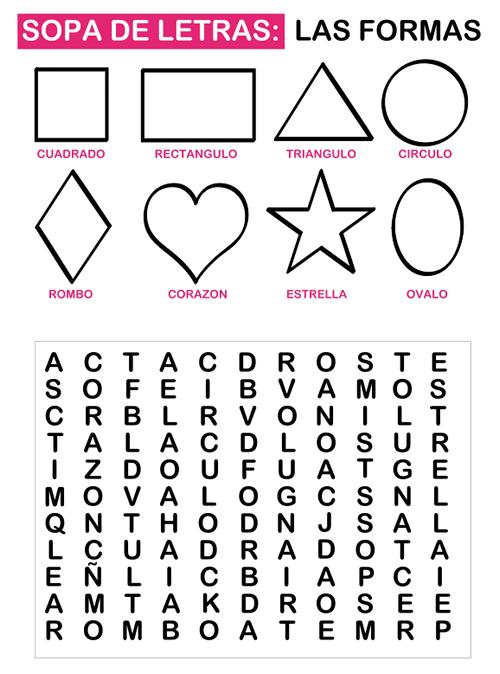 Sopa de letras para niños - Manualidades