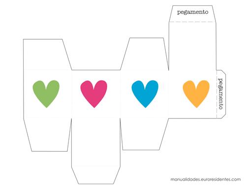 Caja San Valentín para imprimir con corazones de colores