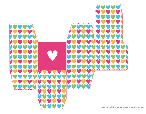 Caja de papel San Valentín corazoncitos