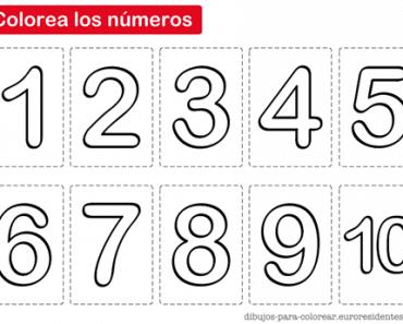Imprimible para colorear los números