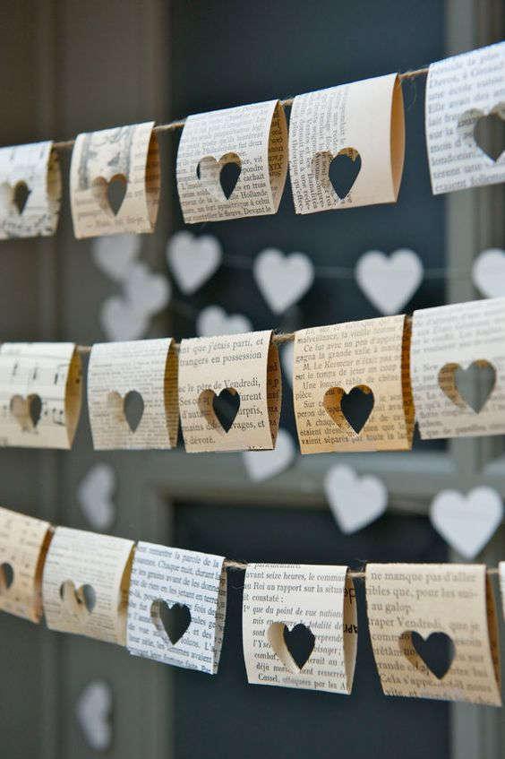 Guirnalda fácil de corazones de papel