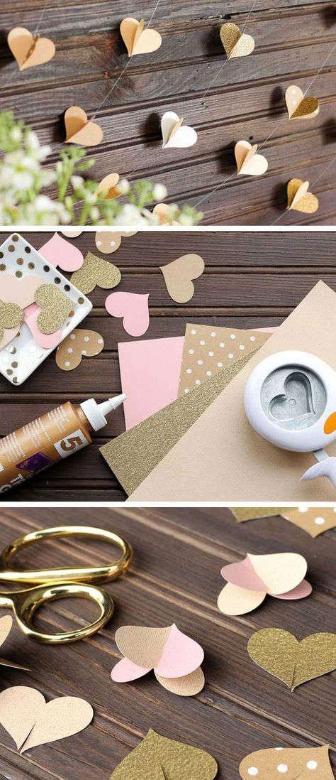 Guirnaldas de corazones con papel o cartulina