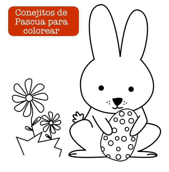 Colorear conejitos de Pascua - Manualidades
