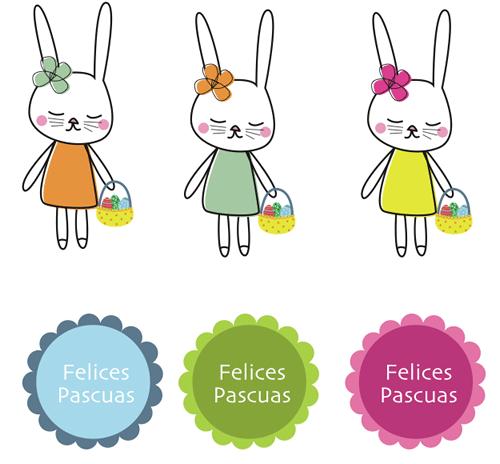 Pascua: dibujos de conejitos para imprimir - Manualidades