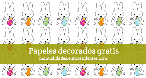 Papel decorado con conejitos de Pascua