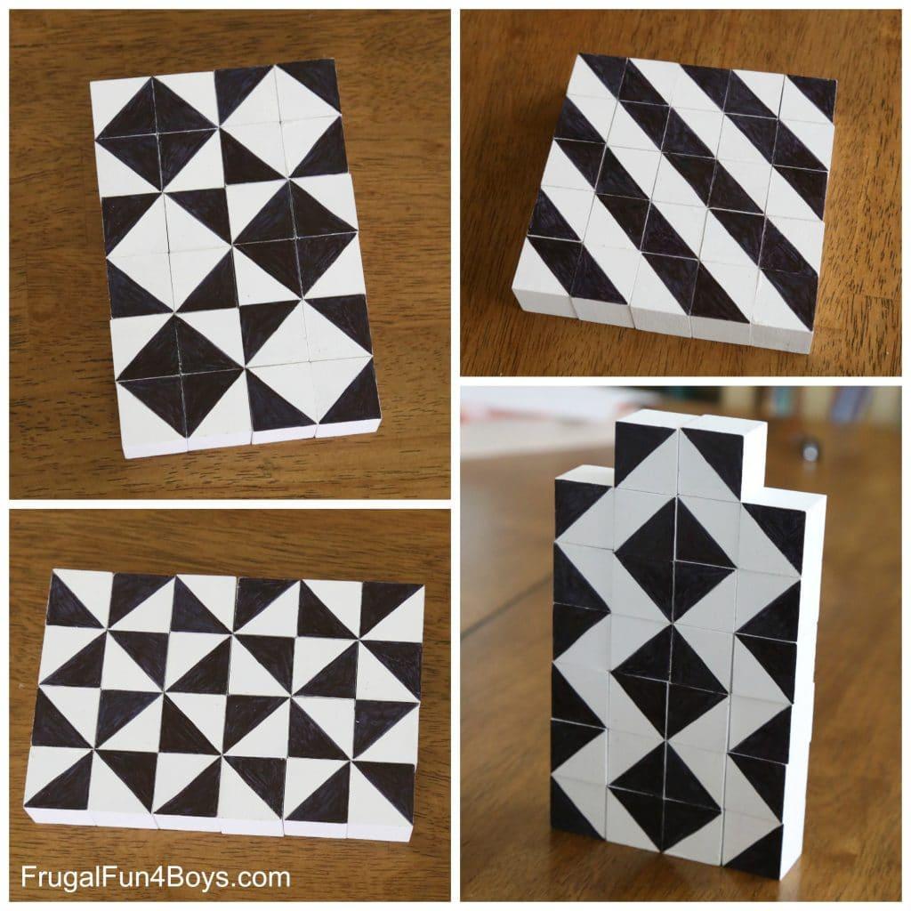 Puzzles caseros de madera o cubos