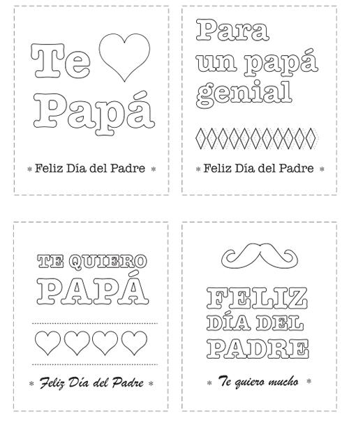 Tarjetas del Día del Padre para colorear - Manualidades