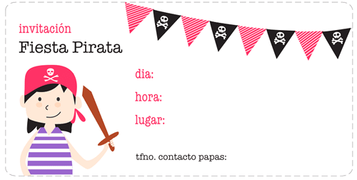 invitación fiesta pirata para imprimir