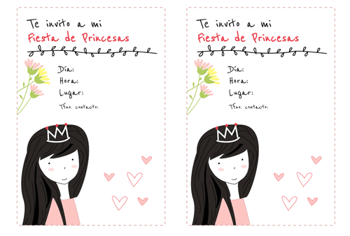 tarjeta de cumpleaños de princesas