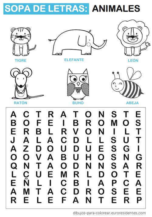 Sopa de letras de animales