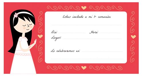 Tarjetas de comunión para imprimir - Manualidades