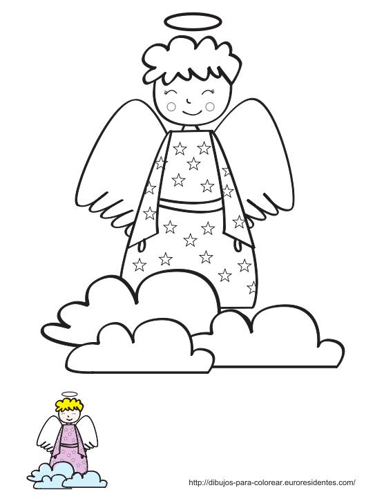 Dibujo de ángel para colorear - Manualidades