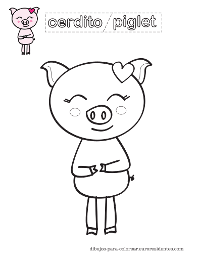 dibujo de cerdito infantil