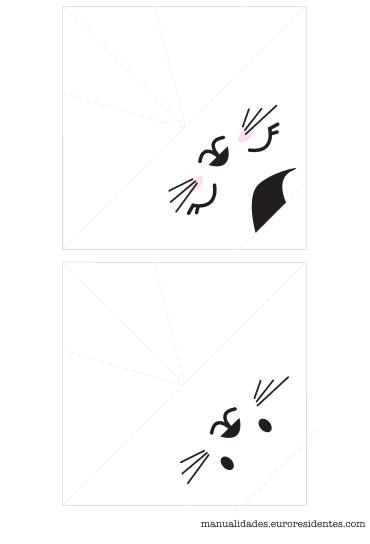 Gato de origami para niños