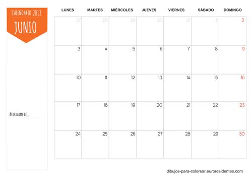 Calendario Junio 2013 para imprimir