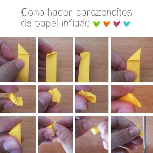 como hacer corazoncitos de papel inflado