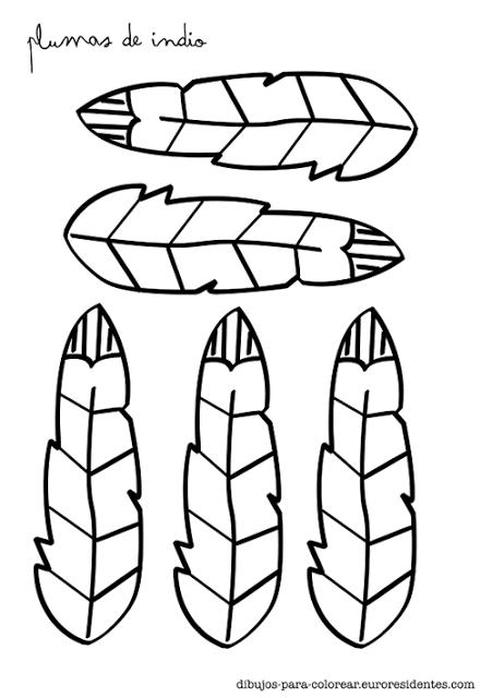 Plumas de indios para colorear - Manualidades