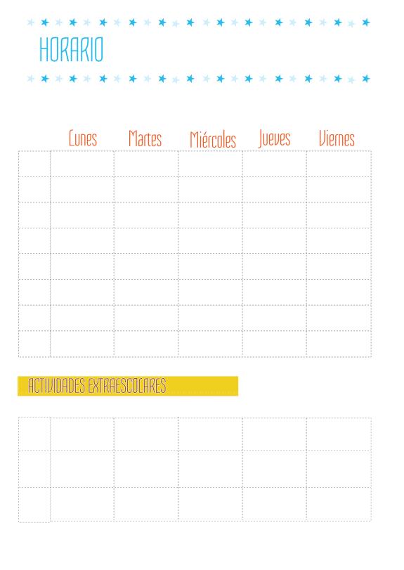 Plantilla de horario semanal - Manualidades