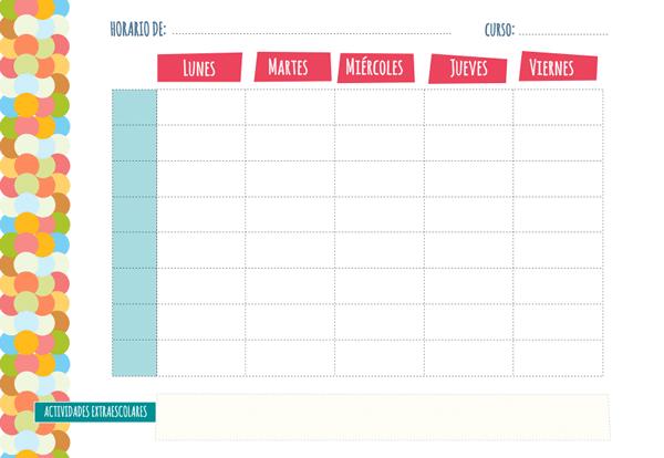 Plantilla de horario semanal manualidades for Cronograma jardin infantil 2015