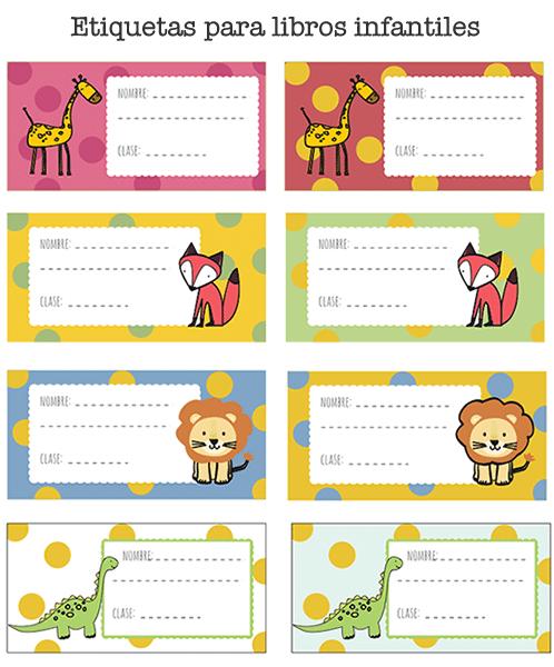 Etiquetas de libros para imprimir manualidades for Pegatinas de pared infantiles