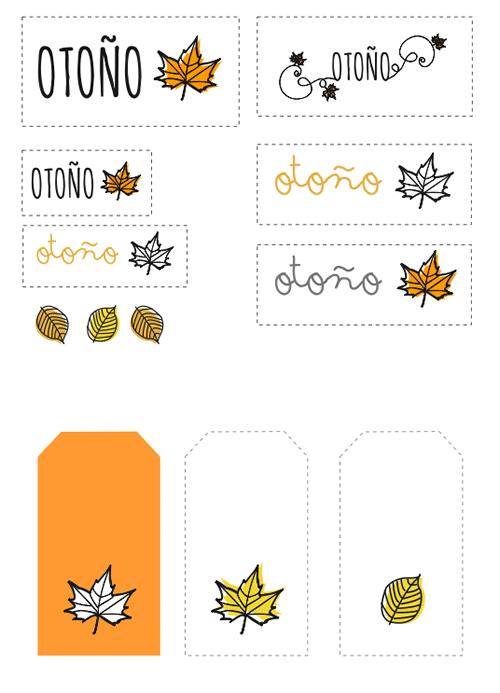 Etiquetas motivos otoñales - Manualidades