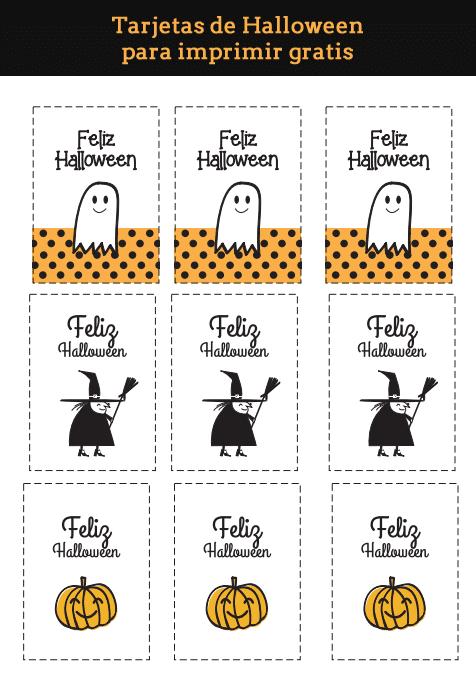 Tarjetas de Halloween para imprimir gratis - Manualidades