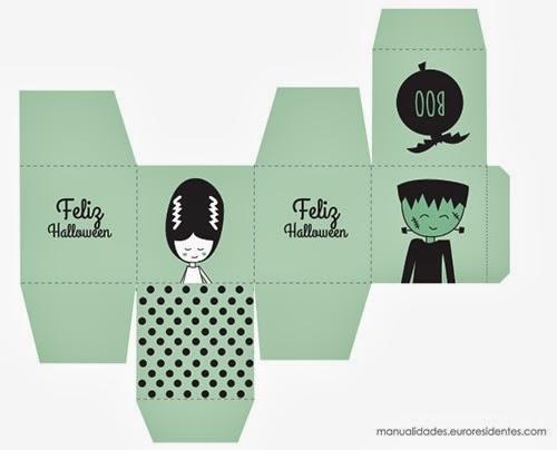 Caja imprimible halloween con dibujo novia de frankestein y frankestein