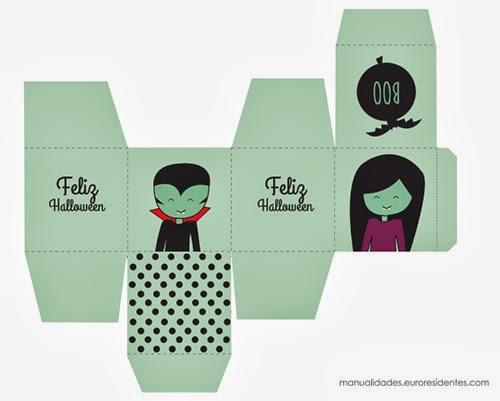 Caja halloween imprimible con dibujo vampiros